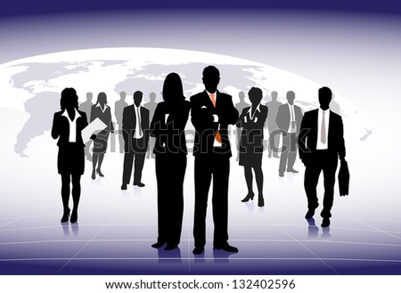 silhouettes of businessmen against a planet - stock photo