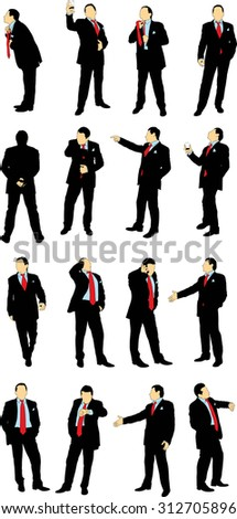 Silhouettes of businessmen in business suit in different situations on a white background.