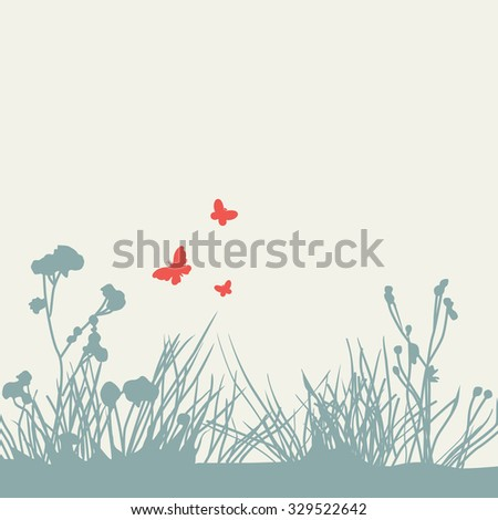 silhouettes of butterflies and plants. Raster version