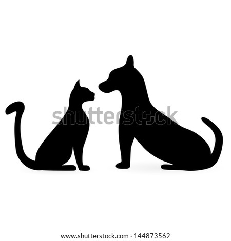 silhouettes of cats and dogs - stock photo