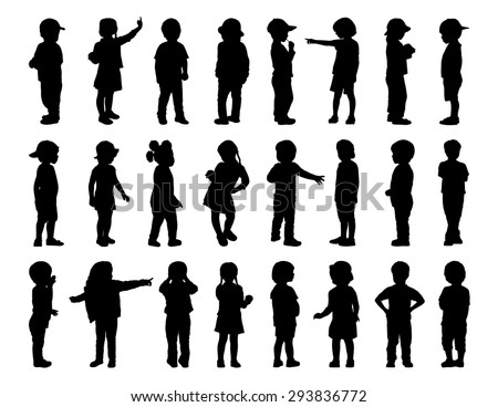 silhouettes of children of 2-6 years old standing in different postures, front, back and profile view, summertime
