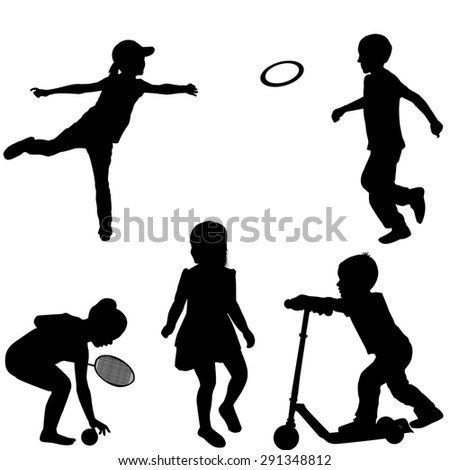 Silhouettes of children playing - stock photo