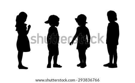 silhouettes of children 3-6 years old standing in different postures, front and profile view, summertime - stock photo
