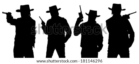 Silhouettes of cowboy with a gun in a stetson isolated on white.  - stock photo