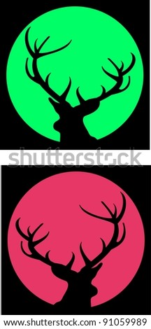 Silhouettes of deer with antlers against green and red moons or sun on black sky - isolated illustration. Avatar. - stock photo