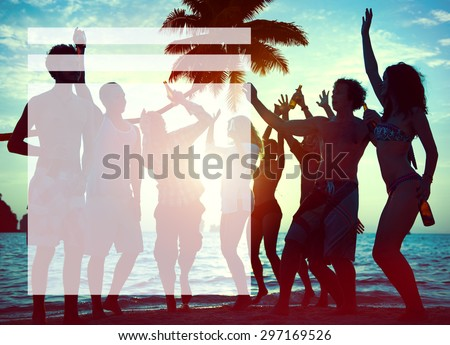 Silhouettes of Diverse Multiethnic People Partying - stock photo