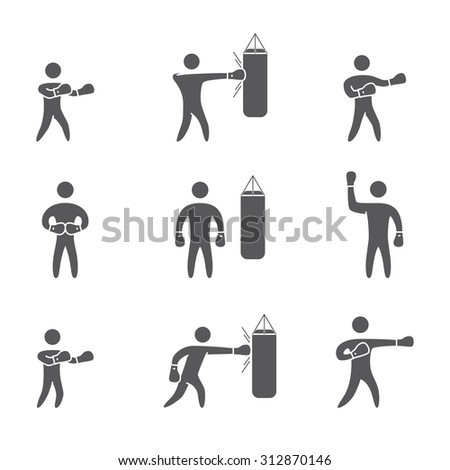 Silhouettes of figures boxer icons set. Boxing symbols