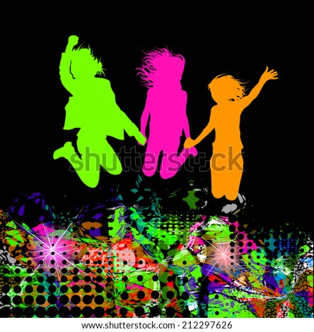 silhouettes of friend people jumping. Childhood. Raster - stock photo