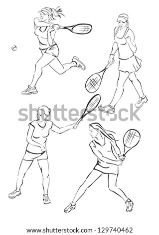 Silhouettes of girls playing tennis