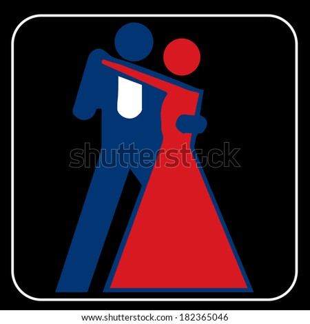 Silhouettes of groom and bride  - stock photo