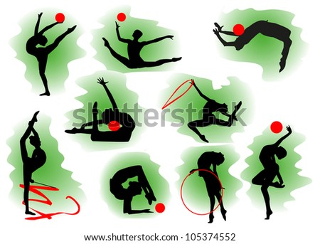Silhouettes of gymnasts with various sports subjects. - stock photo