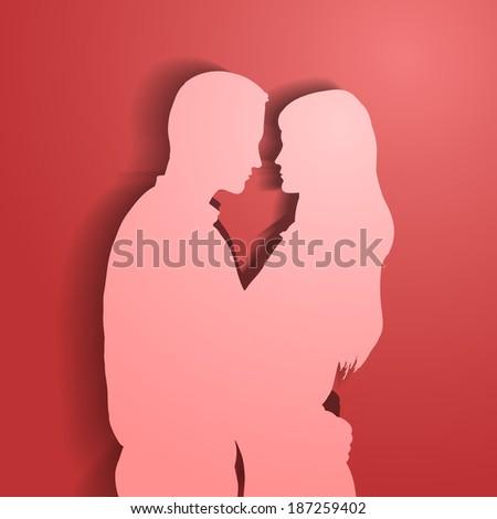 Silhouettes of loving couple. Raster version. - stock photo