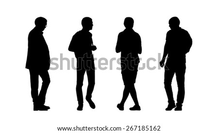silhouettes of ordinary men of different age walking outdoor, front, back and profile views