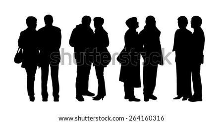 silhouettes of ordinary senior couples standing outdoor in different postures, talking, looking