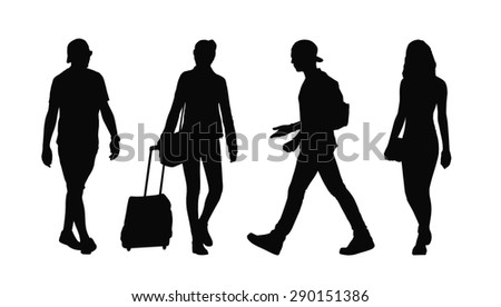 silhouettes of ordinary young adult men and women walking outdoor, summertime; front and profile views - stock photo
