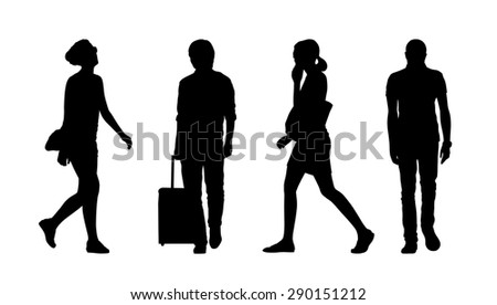 silhouettes of ordinary young men and women walking outdoor, summertime; front and profile views