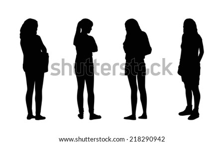silhouettes of ordinary young women standing outdoor in different postures, front and back views - stock photo