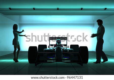Silhouettes Of People And Racing Cars
