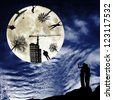 Silhouettes of people, buildings and  trees reflected in the full moon and silhouettes of a man and a woman looking from the earth upwards at sky space - stock photo