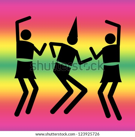 Silhouettes of people dancing - stock photo