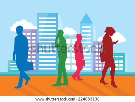 Silhouettes of people going about their business on city background. Man with briefcase woman with phone cartoon design style. Raster version - stock photo