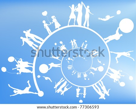 Silhouettes of people in a spiral. - stock photo
