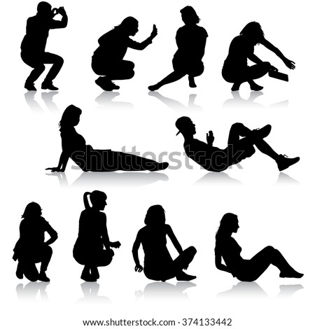 Silhouettes of people in positions lying and sitting. illustration. - stock photo