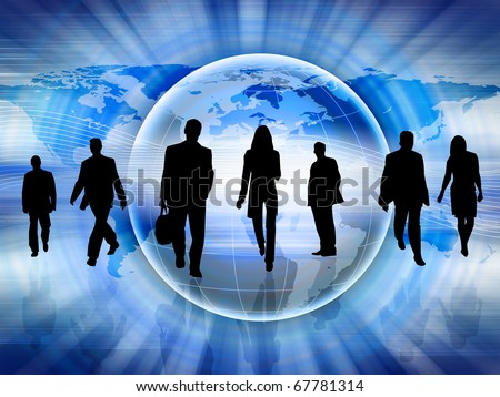 Silhouettes of people in the abstract business background.