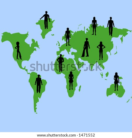 Silhouettes of people on a map of the world - stock photo