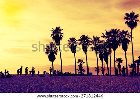 Silhouettes of people playing in Venice Beach. Sunset. Summer concept - stock photo