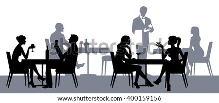 Silhouettes of people sitting at tables in a restaurant or night club Stock illustration - stock photo
