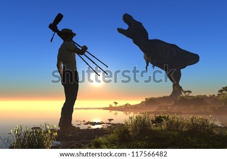 Silhouettes of photographer and dinosaur at sunset.