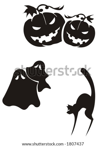 Silhouettes of pumpkins, ghosts and  cat - stock photo