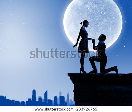 Silhouettes Romantic Couple Under Moon Light Stock Photo