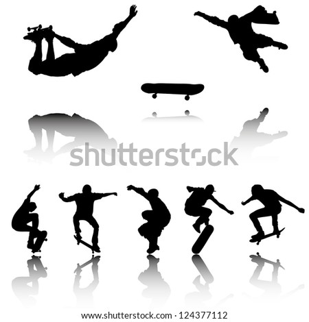 Silhouettes of Skateboarders with reflection