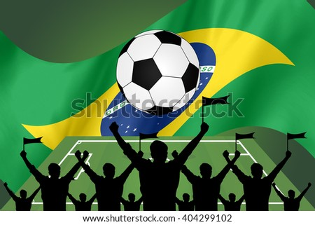 silhouettes of Soccer fans and flag of brazil - stock photo