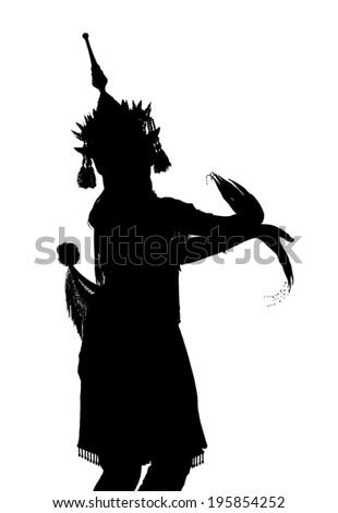 silhouettes of southern Thai dance, Nora. - stock photo