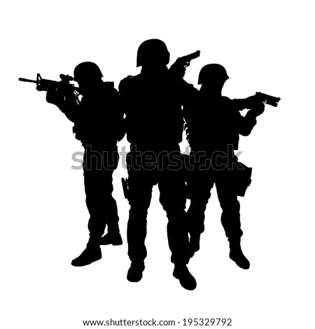 Silhouettes of special weapons and tactics SWAT team in action - stock photo