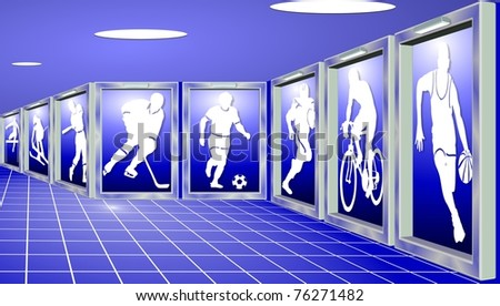 Silhouettes of sportsmen shown as exhibits in a sports gallery / sports - stock photo
