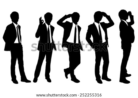 Silhouettes of successful business man purposefully looking away to empty copy space in full length isolated on white background - stock photo
