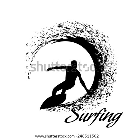 silhouettes of surfers - stock photo