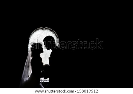 silhouettes of the bride and groom on the background of the arch - stock photo