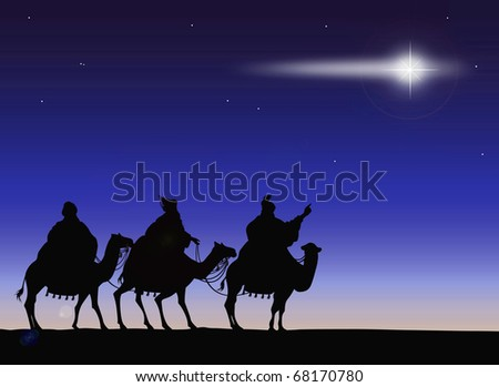 Silhouettes of the Magi with comet - stock photo