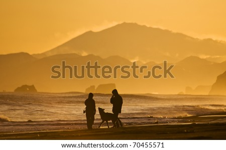 silhouettes of the men, woman and dog walking on oceanside - stock photo