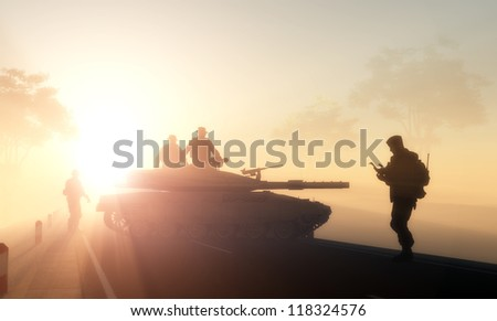 Silhouettes of the military in the sunlight. - stock photo