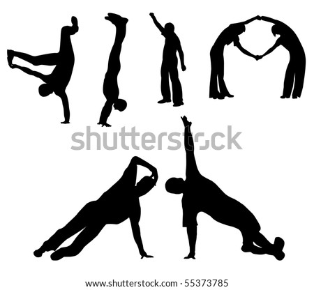 Silhouettes of the people,  dancing break dancer . - stock photo