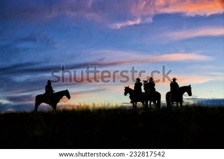 Silhouettes of three cowboys on horseback - stock photo