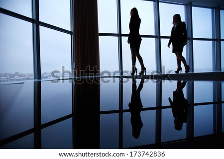 Silhouettes of two businesswomen standing against window in office - stock photo