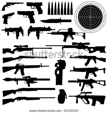 silhouettes of weapons, guns, aims, bullets, granate and Knifes in very High detail - stock photo