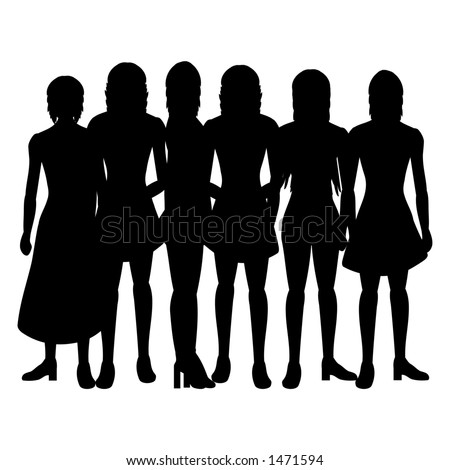 Silhouettes of women on a white background - stock photo